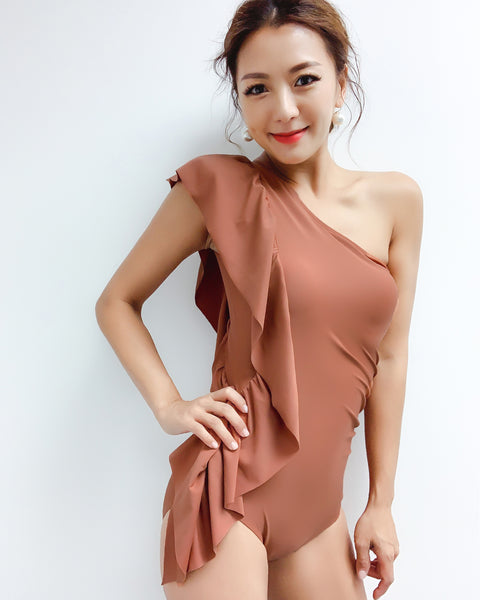 camel one shoulder ruffles one piece swimwear *pre-order*