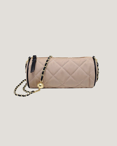 beige nylon quilted bucket chain handbag *pre-order*