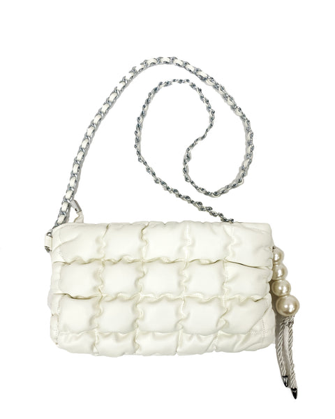 ivory PU leather quilted pearls chain bag *pre-order*