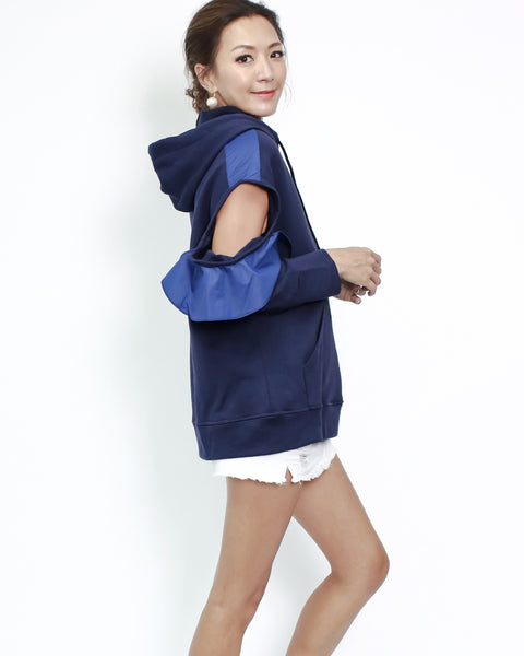 navy sweat cutout shoulder hoodie top *pre-order*