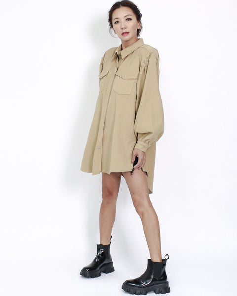camel puff sleeves longline shirt