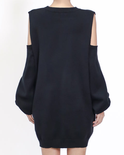 Black cutout shoulders longline knitted top *pre-order*