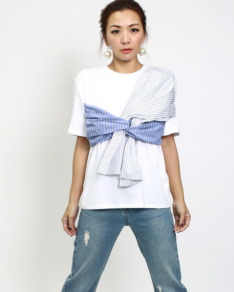 white tee with blue stripes shirt tie front *pre-order*