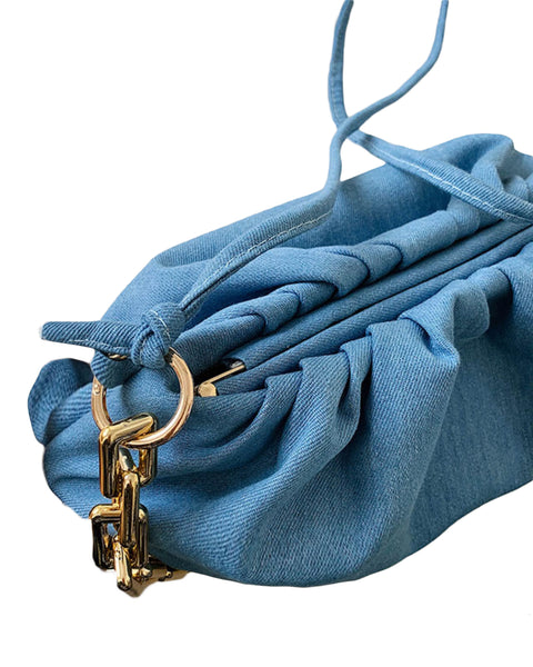 denim pouch bag with gold chain *pre-order*