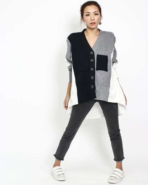 grey with black knitted & ivory shirt back cardigan *pre-order*