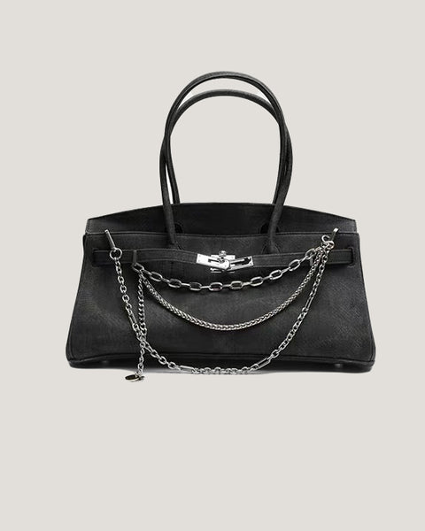 washed dark grey denim chains shoulder bag *pre-order*