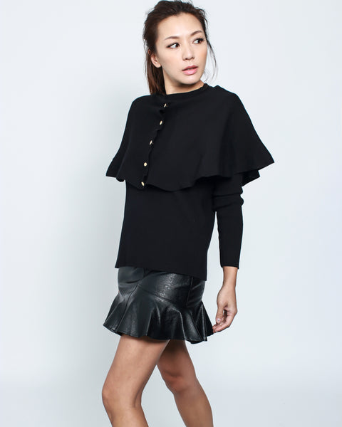 black knitted cape top *pre-order*