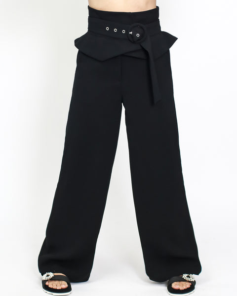 black crepe high waist with ruffles belt wide legs pants