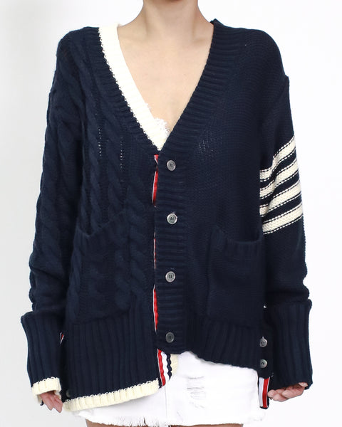 navy with ivory & stripes knitted cardigan *pre-order*