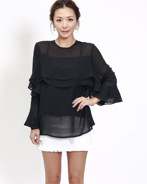 black chiffon ruffles top with slip
