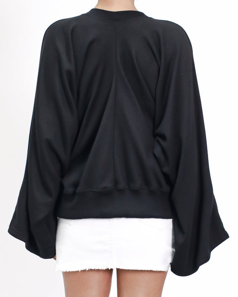 black ruched & bell sleeve sweatshirt
