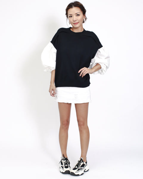 black knitted with ivory puff sleeves top