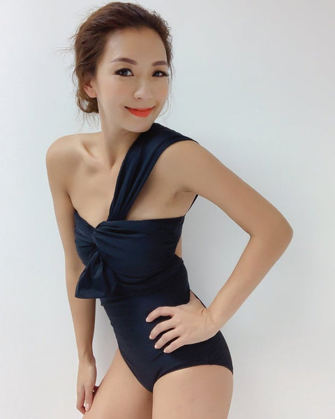 Black one shoulder one piece swimwear *pre-order*