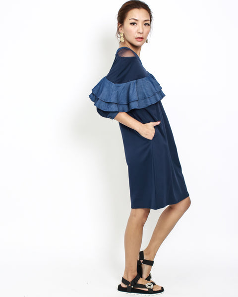 navy tee dress with denim ruffles and mesh shoulders