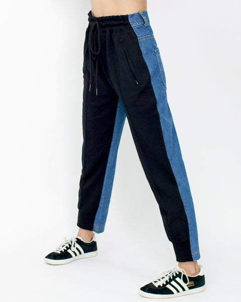 black sweat with denim contrast pants *pre-order*
