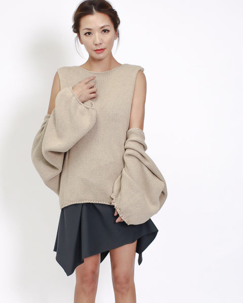 beige knitted vest & sleeves set top