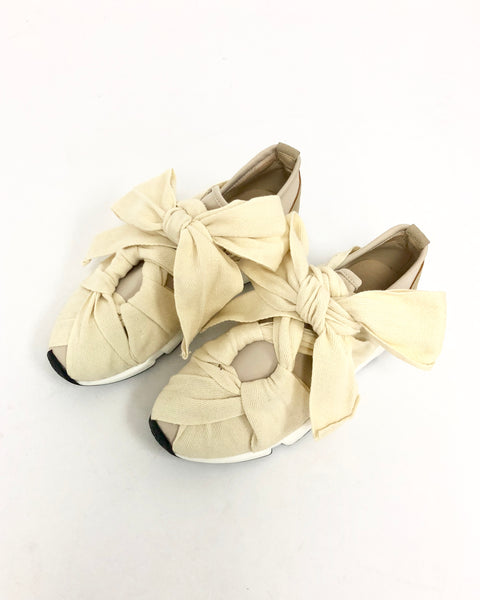 ivory fabric tie-up front sneakers