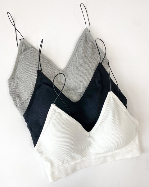 ottoman stretch triangle skinny straps bralette *3 colours* *PRE-ORDER*