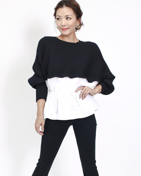 black knitted with white shirt contrast top *pre-order*
