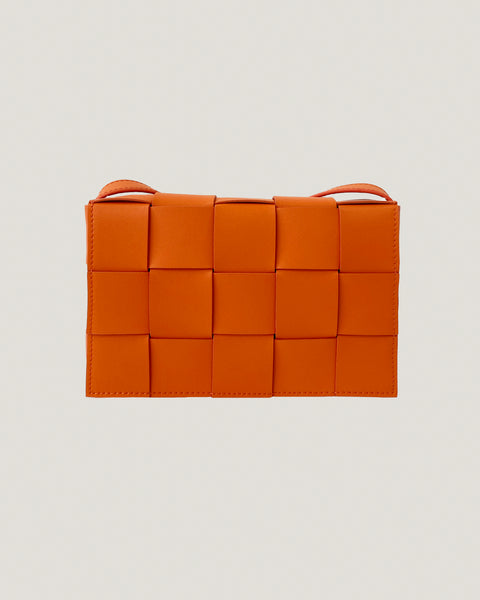 orange leather weave cross body bag *pre-order*