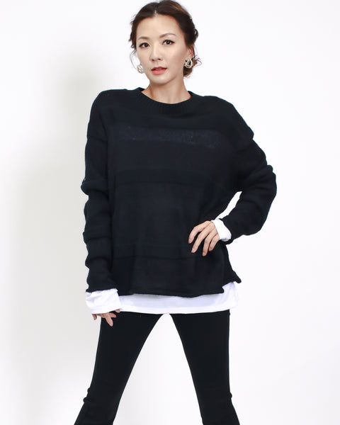black mohair knitted with white shirt layer top