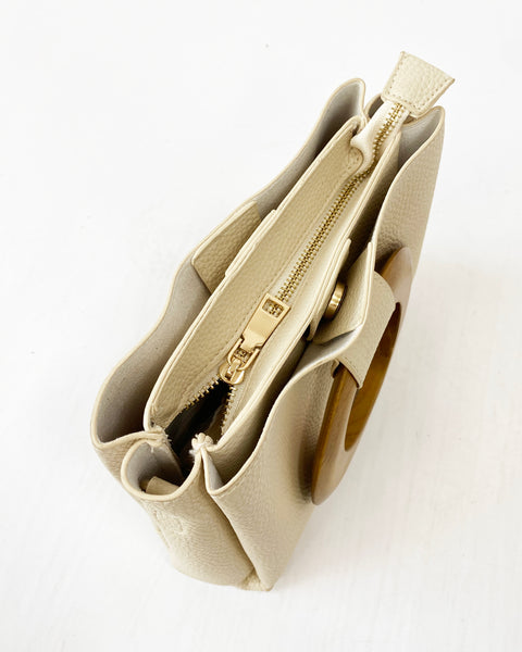 ivory PU leather with wood handles bag *pre-order*