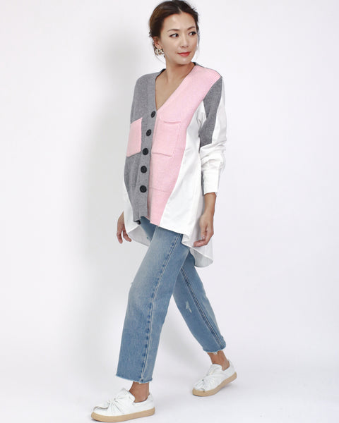 grey & pink knitted with ivory shirt back cardigan *pre-order*