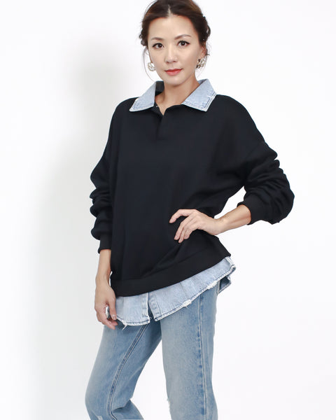 black sweat with denim collar & hem top