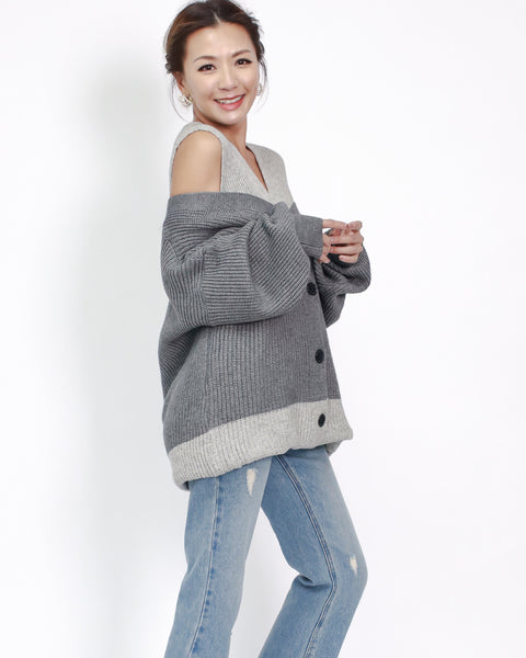 Grey layers off shoulders cardigan *pre-order*