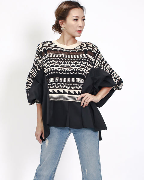 Black beige knitted & shirt top *pre-order*
