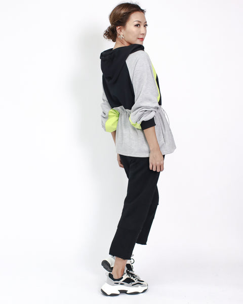 grey with black & neon yellow hoodie sweat jacket *pre-order*