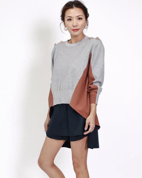 grey knitted with brown shirt back top