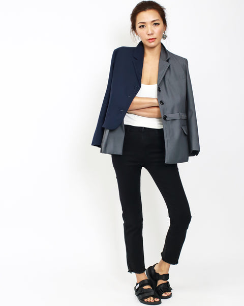 Navy & grey pleats contrast blazer *pre-order*