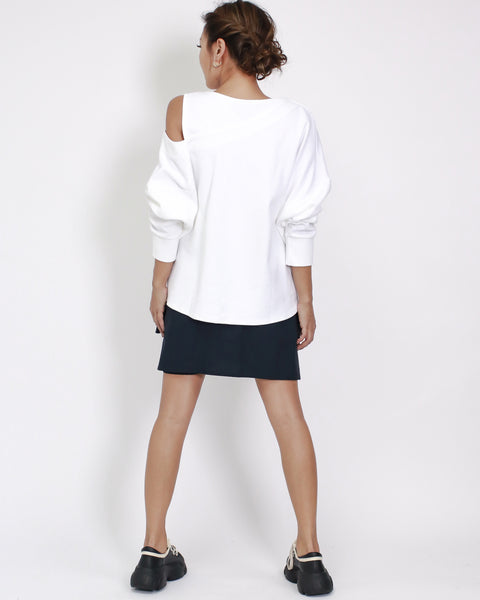 ivory cutout shoulder sweatshirt *pre-order*
