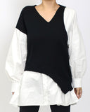 black knitted & ivory shirt top *pre-order*