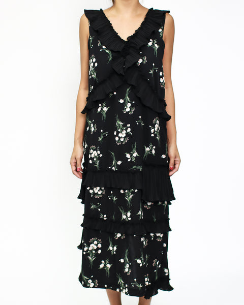 black floral chiffon ruffles dress *pre-order*