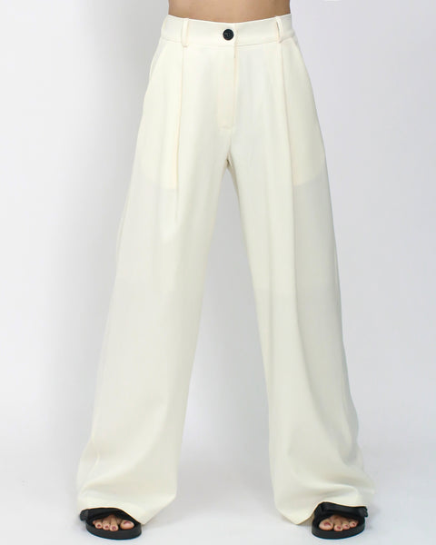 ivory crepe pleats front wide leg pants