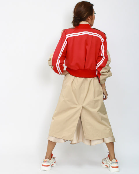 camel with red sporty contrast longline jacket *pre-order*