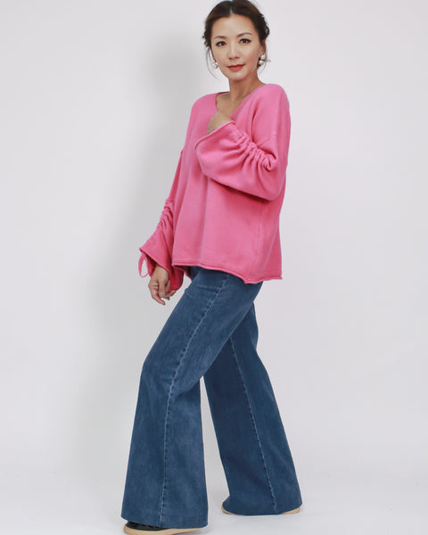 pink ruched sleeve knitted top