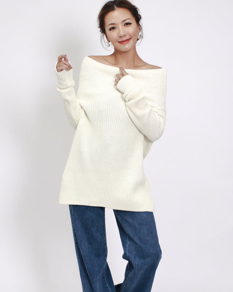 ivory off shoulders knitted top
