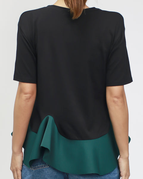 black tee with jade neoprene frill *pre-order*