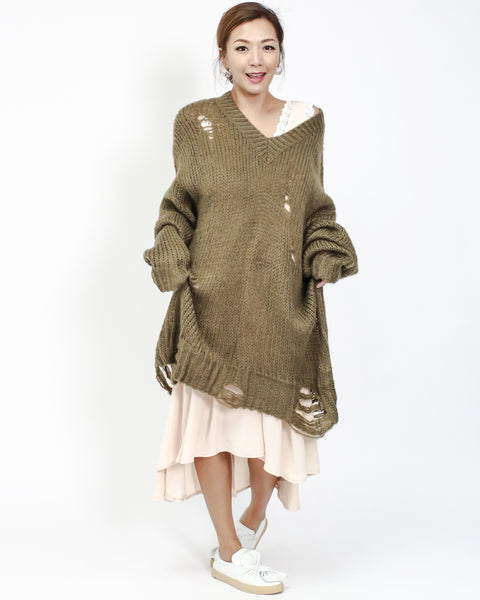 olive green knitted ripped longline dress