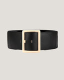 black soft leather stretch back gold buckle wide belt *pre-order*