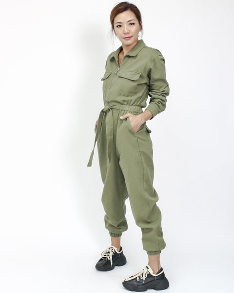 olive green twill zipper front jumpsuit with tie-up waist