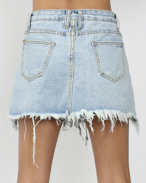 washed denim ripped mini skort *pre-order*