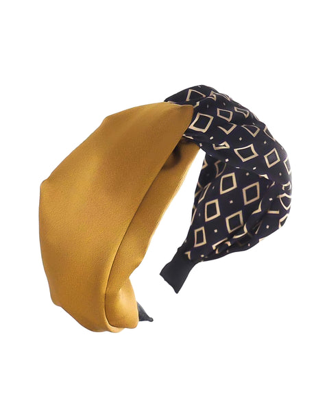 yellow & navy printed contrast fabric twisted headband