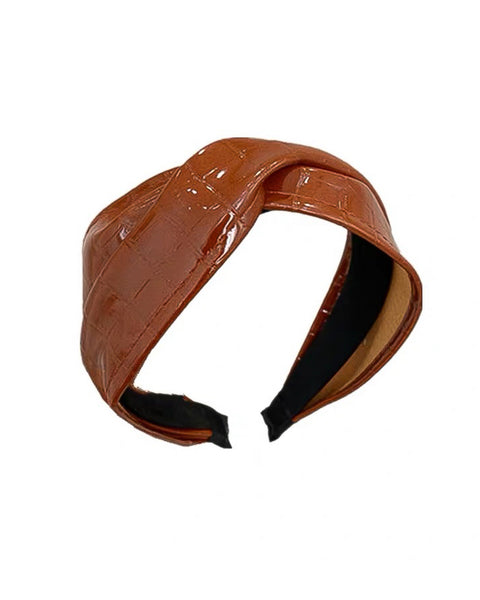 brown faux croc patent leather twisted headband