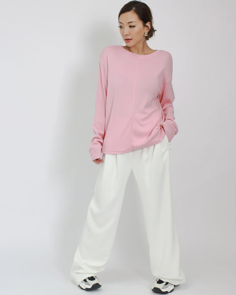 pink cotton long sleeves basic top *pre-order*