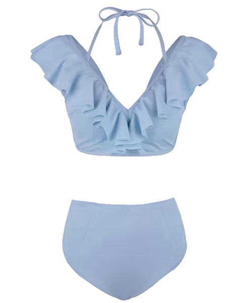 blue ruffles with high waist bottom bikini *pre-order*
