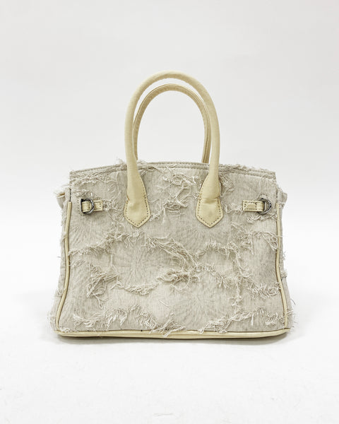 ivory ripped canvas & peals chain bag *pre-order